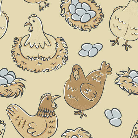 chicken wings: Color seamless pattern with beauty hens and eggs