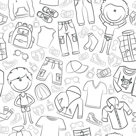 cartoon underwear: Seamless pattern with modern casual boys clothes