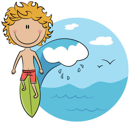 adventure: Cute surfer boy on a wave rushes