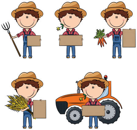 sheaf: Vector farmer man holding cardboard for messages with carrots beam, wheat sheaf, with pitchfork and tractor