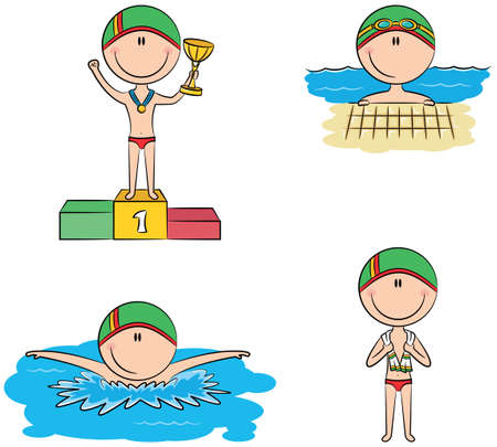 athlete cartoon: Cute vector swimmer boys in different situations: in the pool, swimming in the pool, standing with a towel, on the winners podium with the cup