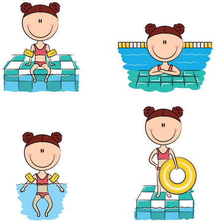 armbands: Cute vector swimmer girls in different situations: sitting on the rim of the pool with feet in the water, resting in the pool, swimming in the pool with inflatable armbands, standing with inflatable ring