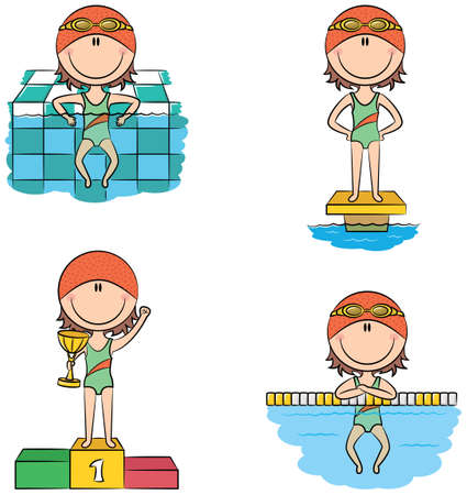 dividing: Cute vector swimmer girls in different situations: relax in the pool, on the starting platform, on the winners podium with the cup, resting on the lane dividing rope