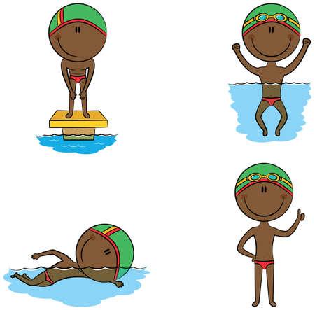 actividad: vector lindo de los niños en diferentes situaciones nadador estadounidense afro-: en la piscina, nadar en la piscina, la preparación para el inicio, con un pulgar levantado