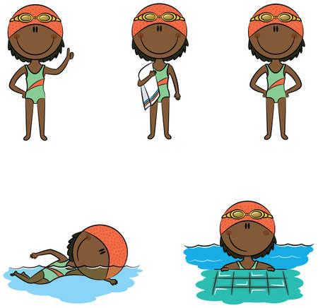enfant maillot de bain: vecteur mignon afro-américains filles nageur dans différentes situations: avec le pouce levé, avec une serviette, debout avec les mains sur les hanches, nager dans la piscine, vous détendre dans la piscine Illustration