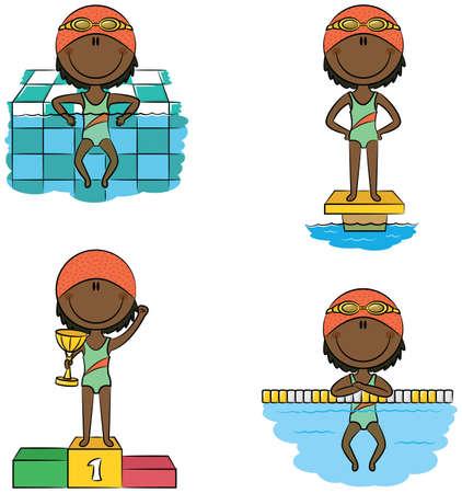 enfant maillot de bain: vecteur mignon filles nageur dans différentes situations américaines afro-: se détendre dans la piscine, sur la plate-forme de départ, sur le podium des vainqueurs avec la coupe, reposant sur la corde voie divisant