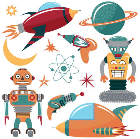 space invaders: Colorful space invaders set with robots, spaceships and planets Illustration
