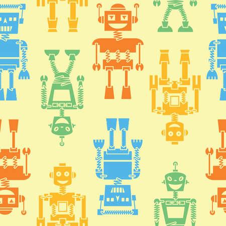 wallpapper: Cute retro robots color silhouette background seamless pattern Illustration