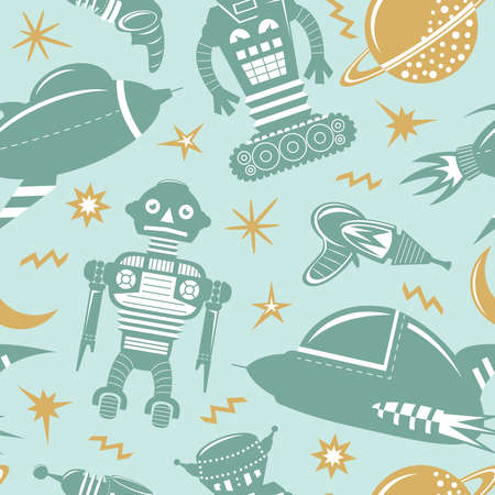 space invaders: seamless pattern with robots, spaceships and planets. Space invaders background.