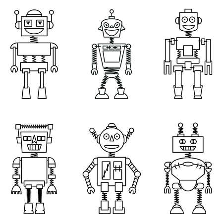 machinery space: Retro smart robots set isolated on white background