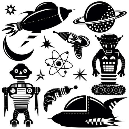 space invaders: Black wall stickers space invaders set with robots, spaceships and planets Illustration