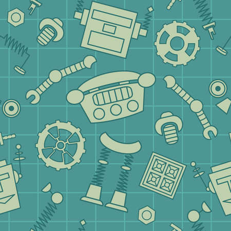 details: Smart robot parts and details background seamless pattern.