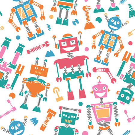 wallpapper: Cute retro robots colorful silhouette background seamless pattern