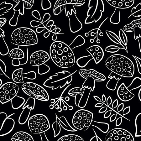 inedible: Cute amanita seamless pattern with leaf and berries. Poisonus mushrooms doodle style black and white wallpaper.