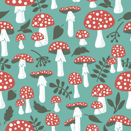 inedible: Cute amanita vector seamless pattern with leaf and berries. Poisonus mushrooms doodle style wallpaper. Illustration