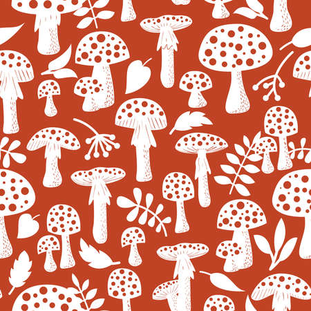 fly agaric: Cute amanita seamless pattern with leaf and berries. Poisonus mushrooms silhouette wallpaper.