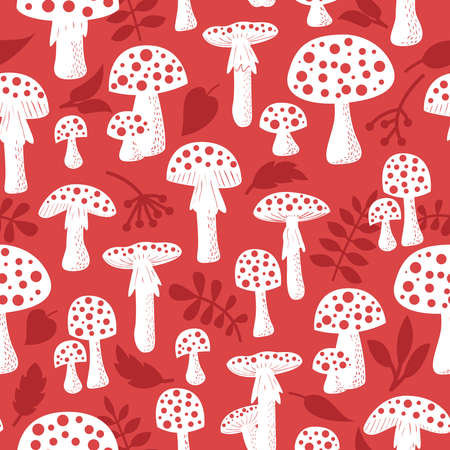 inedible: Cute amanita seamless pattern with leaf and berries. Poisonus mushrooms silhouette wallpaper.