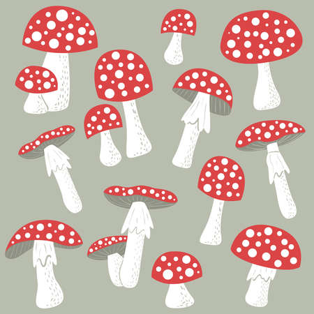 inedible: Cute amanita color collection. Poisonus mushrooms isolated.