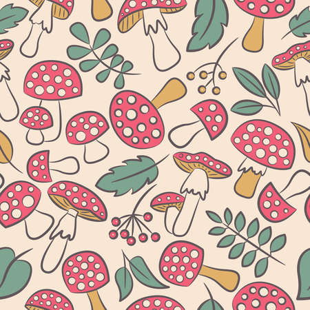 inedible: Cute amanita seamless pattern with leaf and berries. Poisonus mushrooms doodle style wallpaper.