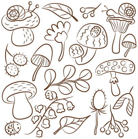 childish: doodle icon set with mushroom, ladybird, snail, flower and leaf. Nature colorful collection of childish characters and plants.