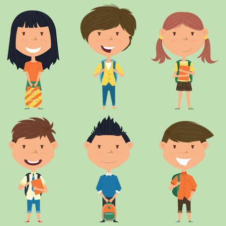 pupils: School boys and girls standing with books and backpacks.  collection of kids characters. Cute pupils set. Illustration
