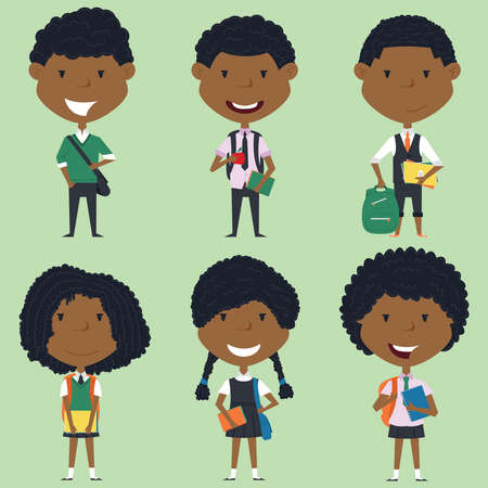 school boys: African american school boys and girls standing with books and backpacks.  collection of kids characters. Cute pupils set.