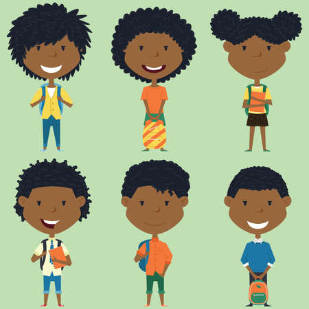 african american boys: African american school boys and girls standing with books and backpacks.  collection of kids characters. Cute pupils set.