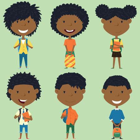 African ragazzi della scuola americana e ragazze in piedi con libri e zaini. collezione di personaggi per bambini. impostati pupille sveglie.