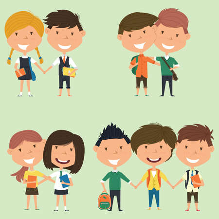 school boys: Best friends school boys and girls standing together. Joyful classmates hugging.  collection of kids characters. Cute pupils set.