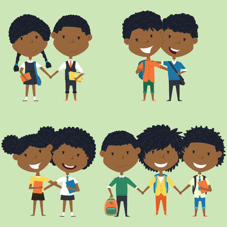 pupil's: Best friends african american school boys and girls standing together. Joyful classmates hugging.collection of kids characters. Cute pupils set. Illustration