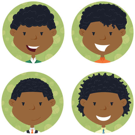 school boys: African american school boys avatar collection. portraits of classmates. Cute student icon set. Illustration