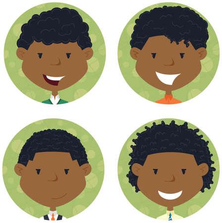 niño escuela: americano muchachos de escuela colección avatar africano. retratos de compañeros de clase. Conjunto del icono linda del estudiante.