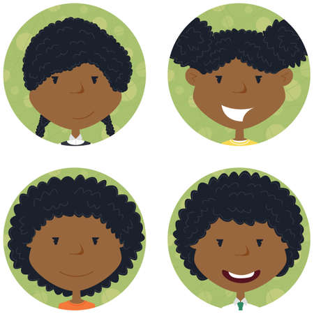 african girls: African american school girls avatar collection. portraits of classmates. Cute student icon set. Illustration