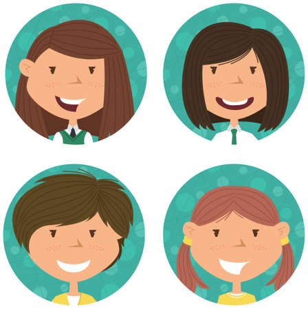 schooler: School girls avatar collection. portraits of classmates. Cute student icon set.