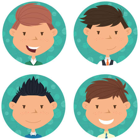 youth group: School boys avatar collection.  portraits of classmates. Cute student icon set.