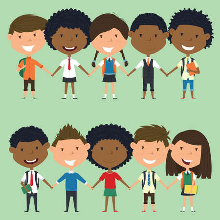 multiracial: Multiracial school boys and girls standing and holding hands. Vector set of multicultural happy classmates. Collection of cute kids characters.