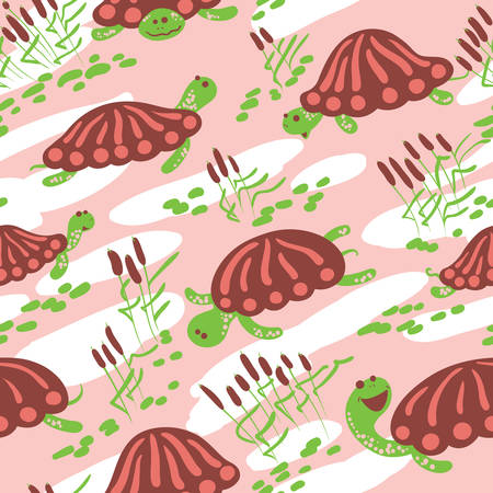cattail: Seamless  pattern with earthen turtle in the reeds. Marshland rural background with reptiles, ponds and canes