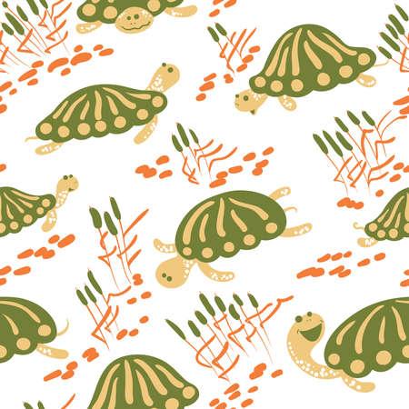 Conjunto De Iconos De Dibujos Animados Con Las Tortugas De Barro Y ...