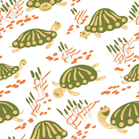 garden pond: Seamless pattern with earthen turtle in the reeds. Marshland rural background with reptiles, ponds and canes