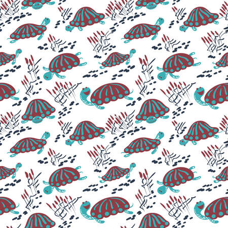 canes: Seamless vector pattern with earthen turtle in the reeds. Marshland rural background with reptiles, ponds and canes Illustration