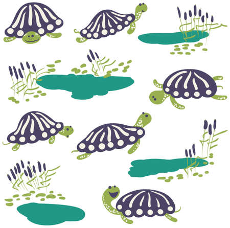 cattail: icon set with cute cartoon earthen turtles and reeds with pond. Illustration