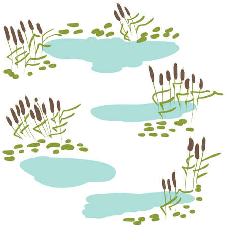 ponds: icon set with green reeds, stones and blue pond. Collection of marshland rural landscapes.