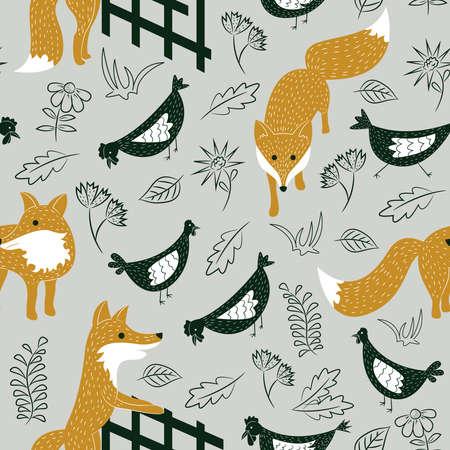 Teste padrão sem emenda com as raposas manhosos bonitos e galinhas no prado. Fundo animal do vetor com plantas.