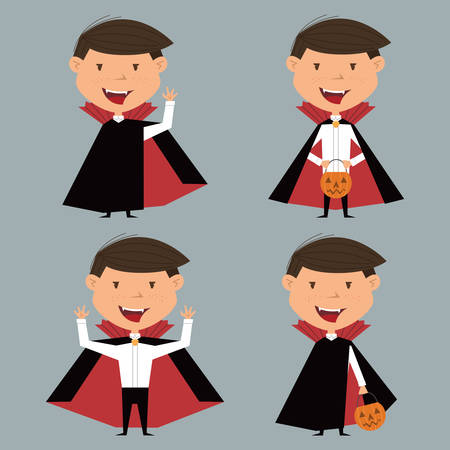 male teenager: collection with boy in vampire costume for Halloween in various poses Illustration
