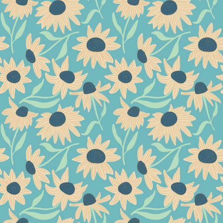 beauty of nature: Beauty flowers seamless pattern. Floral abstract background. Pretty nature repeat wallpaper.