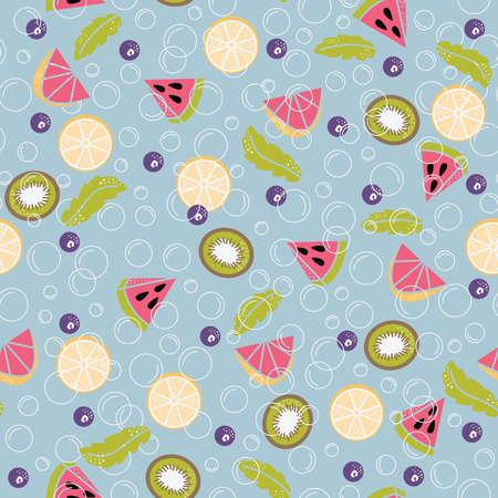 Infused water of fresh fruit:  lemon, mint, cucumber, orange, strawberry, raspberries, kiwi, blueberry, watermelon. Seamless pattern with detox water. Fruit cocktails background.