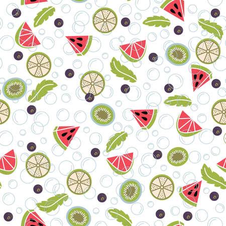 fruit background: Infused water of fresh fruit:  lemon, mint, cucumber, orange, strawberry, raspberries, kiwi, blueberry, watermelon. Seamless pattern with detox water. Fruit cocktails background.