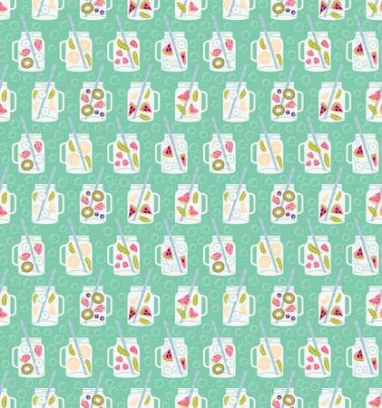 cocteles de frutas: Botellas de agua infundida de fruta fresca: limón, menta, pepino, naranja, fresa, frambuesa, kiwi, arándanos, sandía. sin patrón, con el agua de desintoxicación en frascos de bebidas. ensaladas de fruta de fondo. Vectores