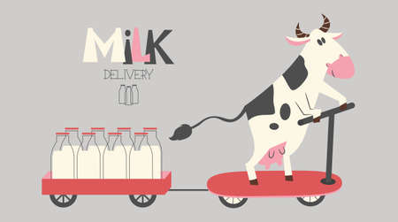 cheerful cow delivers milk bottles on a scooter. Organic farm milk delivery service. Illustration