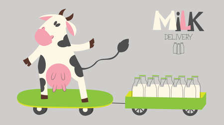 cheerful cow delivers milk bottles on a skate. Organic farm milk delivery service. Illustration